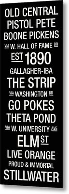 Oklahoma State College Town Wall Art Metal Print by Replay Photos