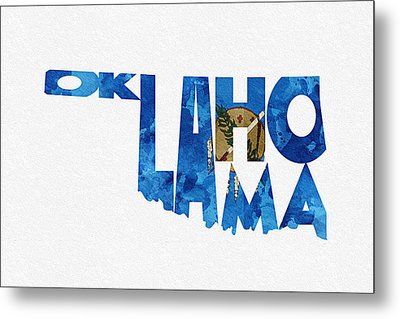 Oklahoma Typographic Map Flag Metal Print by Ayse Deniz
