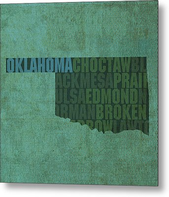Oklahoma Word Art State Map On Canvas Metal Print by Design Turnpike