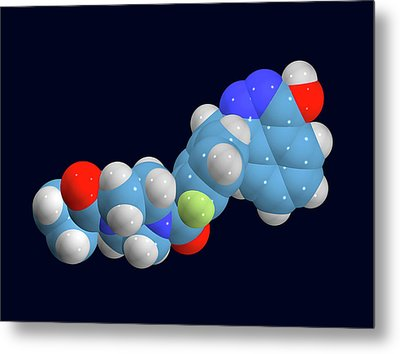 Olaparib Ovarian Cancer Drug Molecule Metal Print by Dr Tim Evans