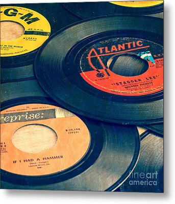 Old 45 Records Square Format Metal Print by Edward Fielding