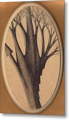 Old Age Lies In Wood Metal Print