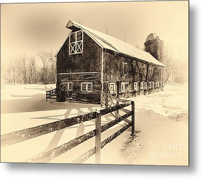 Old American Barn On Snow Covered Land Metal Print by George Oze