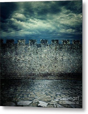 Old Ancient Wall Metal Print by Mythja  Photography