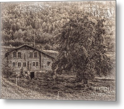 Old And Abandoned - Sepia Metal Print by Hanny Heim
