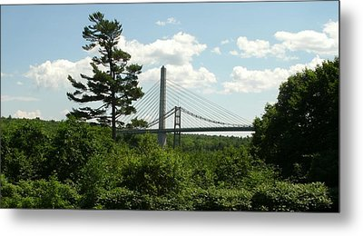 Old And New Bridges Over Penobscot Metal Print by David Fiske