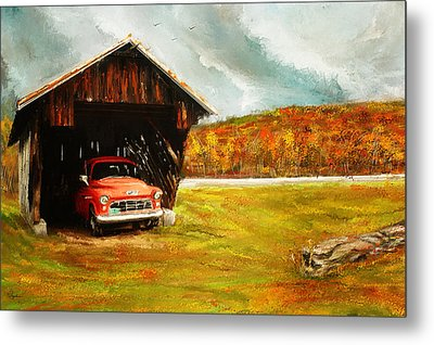 Old Barn And Red Truck Metal Print by Lourry Legarde