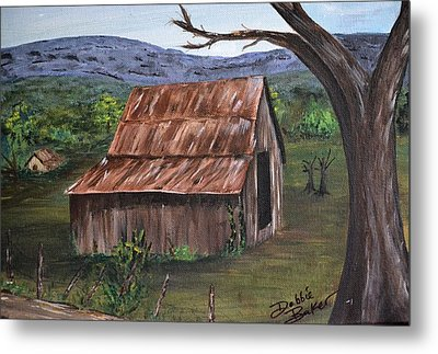 Metal Print featuring the painting Old Barn by Debbie Baker