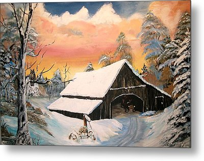 Metal Print featuring the painting Old Barn Guardian by Sharon Duguay