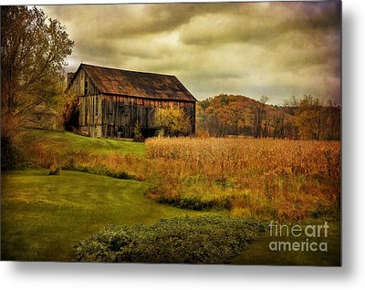 Old Barn In October Metal Print by Lois Bryan