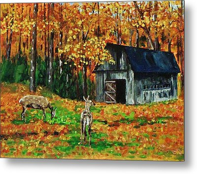 Old Barn In The Woods Metal Print by Mike Caitham