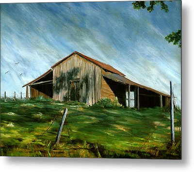 Old Barn Landscape Art Pleasant Hill Louisiana  Metal Print