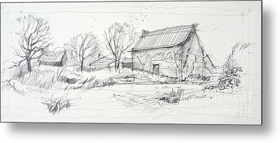 Old Barn Sketch Metal Print by Peut Etre