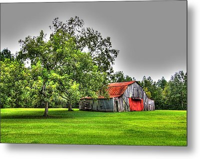 Metal Print featuring the photograph Old Barn With Red Door by Lanita Williams