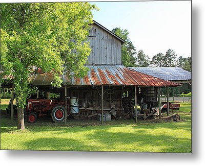 Old Barn With Red Tractor Metal Print