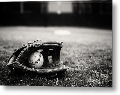 Old Baseball And Glove On Field Metal Print by Danny Hooks