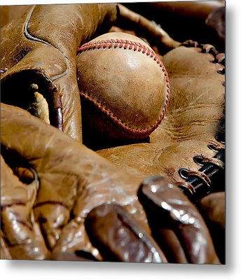Old Baseball Ball And Gloves Metal Print