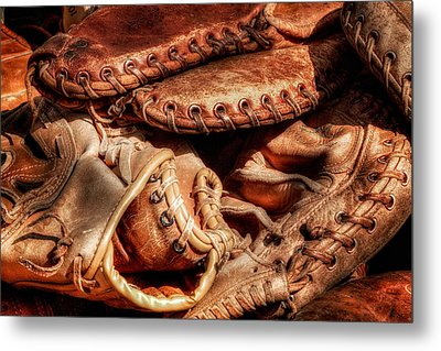 Old Baseball Gloves Metal Print by Bill Wakeley