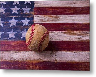 Old Baseball On American Flag Metal Print