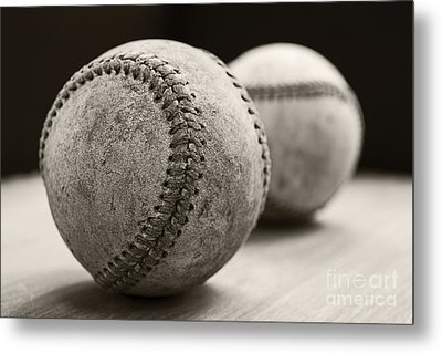Old Baseballs Metal Print by Edward Fielding