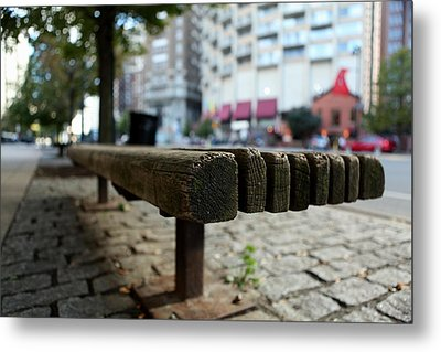 Metal Print featuring the photograph Old Bench In Philadelphia by Dorin Adrian Berbier