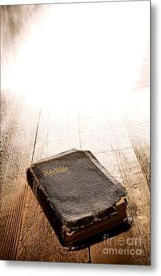 Old Bible In Divine Light Metal Print by Olivier Le Queinec
