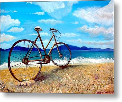 Old Bike At The Beach Metal Print
