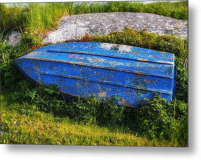 Old Blue Boat Metal Print by Garry Gay