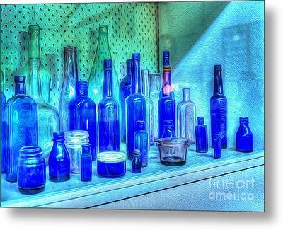 Old Blue Bottles Metal Print by Kaye Menner