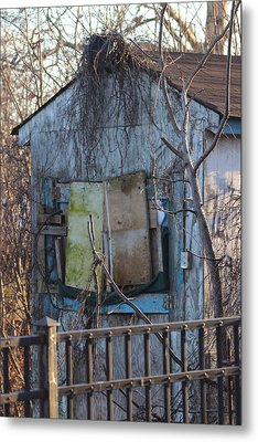 Old Blue Shack Metal Print by Tom Gari Gallery-Three-Photography