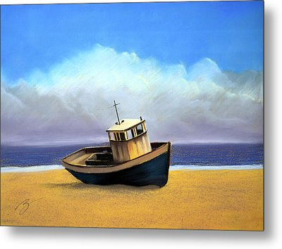 Metal Print featuring the pastel Old Boat - Pastel by Ben Kotyuk
