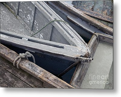 Old Boats Tied Up At The Dock Metal Print by Katherine Gendreau
