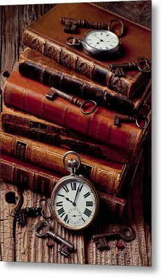 Old Books And Watches Metal Print