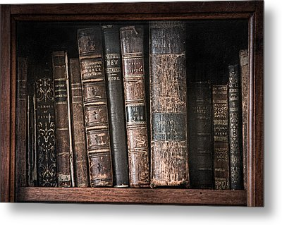 Old Books On The Shelf - 19th Century Library Metal Print