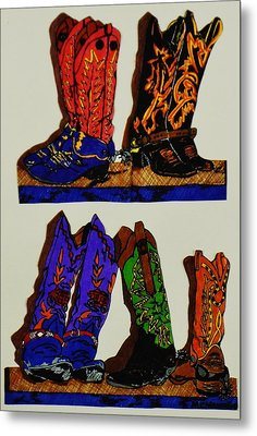 Metal Print featuring the drawing Old Boots by Celeste Manning