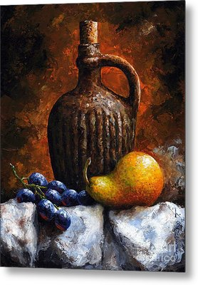 Old Bottle And Fruit II Metal Print by Emerico Imre Toth