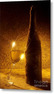 Old Bottle Of  Wine With A Glass Metal Print