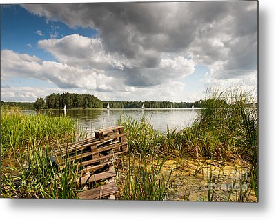 Old Bridge And Boats At The Lake Metal Print by Arletta Cwalina