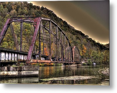 Old Bridge Over Lake Metal Print by Jonny D