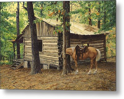 Log Cabin - Back View - At Big Creek Metal Print