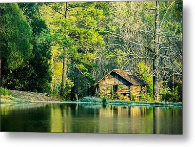 Old Cabin By The Pond Metal Print