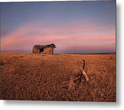 Old Cabin Sunset 1 Metal Print by Leland D Howard