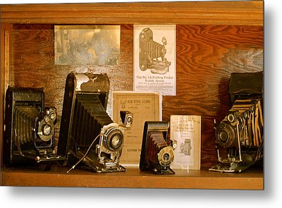 Old Cameras Metal Print