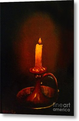 Old Candle Stick Painting Metal Print by Becky Lupe