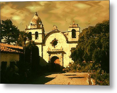 Old Carmel Mission - Watercolor Drawing Metal Print by Art America Gallery Peter Potter