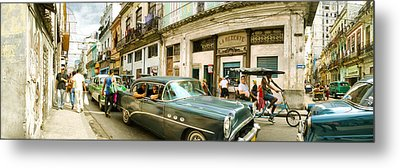 Old Cars On A Street, Havana, Cuba Metal Print