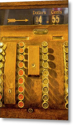 Old Cash Register Decor At The Historic Metal Print by Chuck Haney