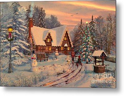 Old Christmas Cottage Metal Print by Dominic Davison
