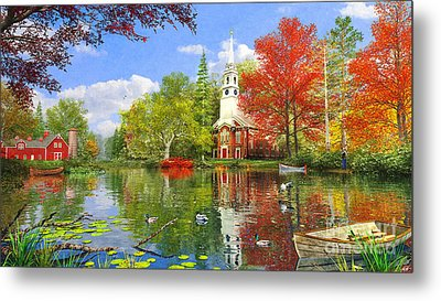 Old Church At Autumn Lake Metal Print