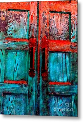 Old Church Door Handles 2 Metal Print by Becky Lupe